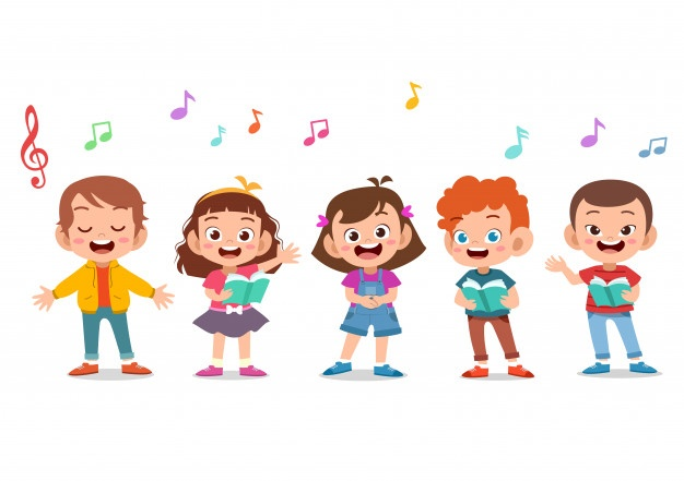 cartoon group children singing school choir 97632 602